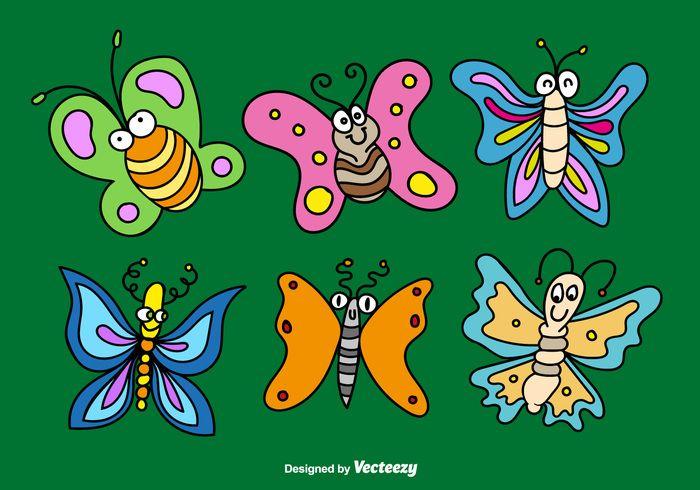 Free vector Cartoon butterflies vectors #28947