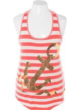 Plus Size Sexy Nautical Anchor Orange Tank, Plus Size Clothing, Club Wear, Dresses, Tops, Sexy Trendy Plus Size Women Clothes