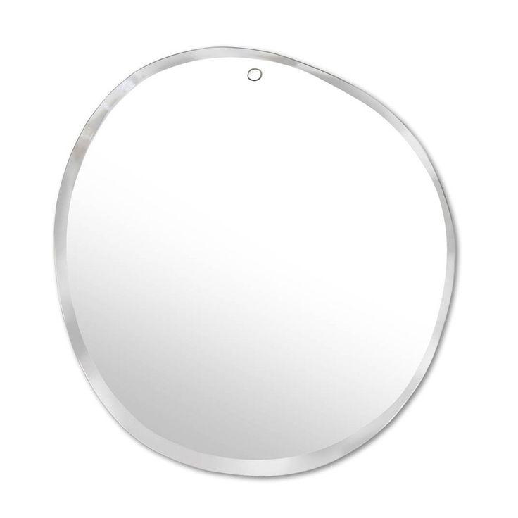Miroir extra plat biseauté – forme aléatoire ronde 47×50 cm Naturel