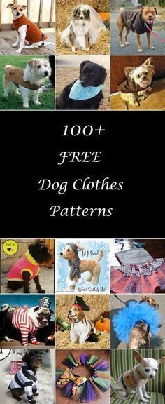 Lots of free dog clothes sewing patterns. Diy dog t-shirts, dresses, coats, and more, for large and small dogs. How to make dog clothes. Dog clothes tutorials & projects. #dogdiyclothes #dogdiyprojects