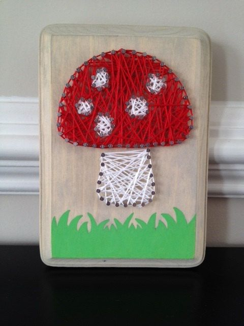#mushroom #art #cute  I found this really awesome Etsy listing at https://www.etsy.com/listing/183284835/mini-mushroom-nail-string-art