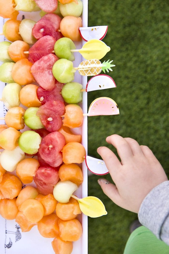Fruit kabobs from a Tutti Frutti Valentine's Day Party on Kara's Party Ideas   KarasPartyIdeas.com (8)