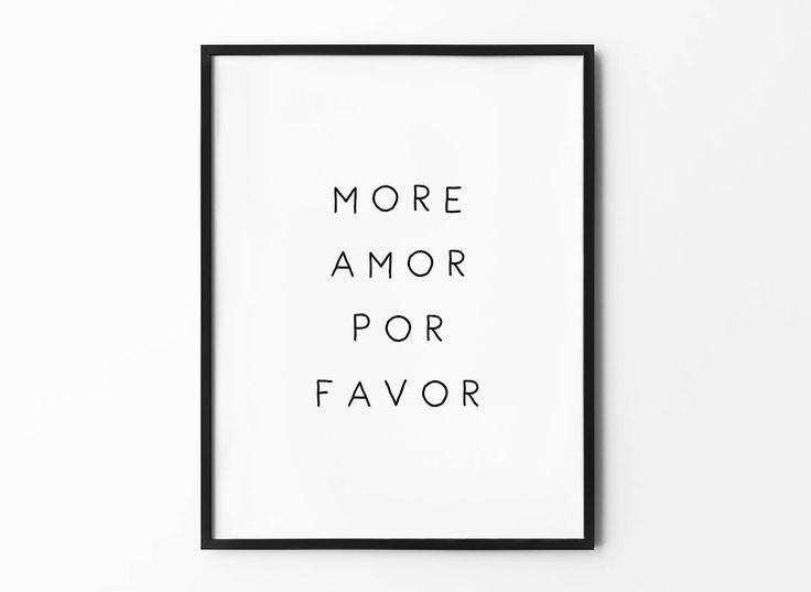 More Amor Por Favor Print, Boy Friend Gift, Love Quote Poster, Black and White Wall Decor, Minimalist Print