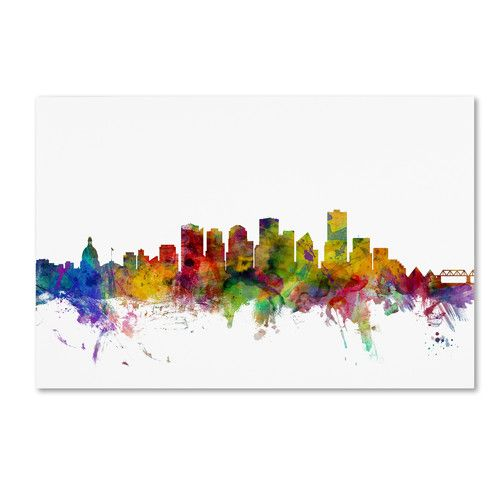 Found it at Wayfair.ca - Edmonton Canada Skyline by Michael Tompsett Graphic Art on Wrapped Canvas