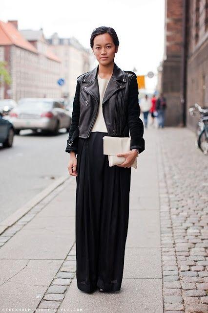 leather jacket + maxi skirt.