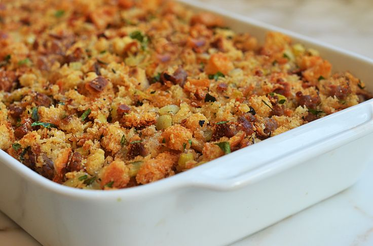 Easy Sausage Stuffing; ( I use Jimmy Dean SAGE Sausage, & Boxed SEASONED Stuffing cubes. (Never tried a egg or garlic in it, I'll have to try it)! The rest of recipe is abt the same; & OH, SO GOOD!! onceuponachef.com