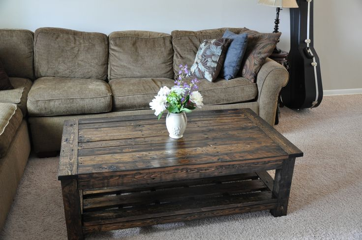 dark wood coffee table | coffee table pattern with added magazine rack. We used pallet wood ...
