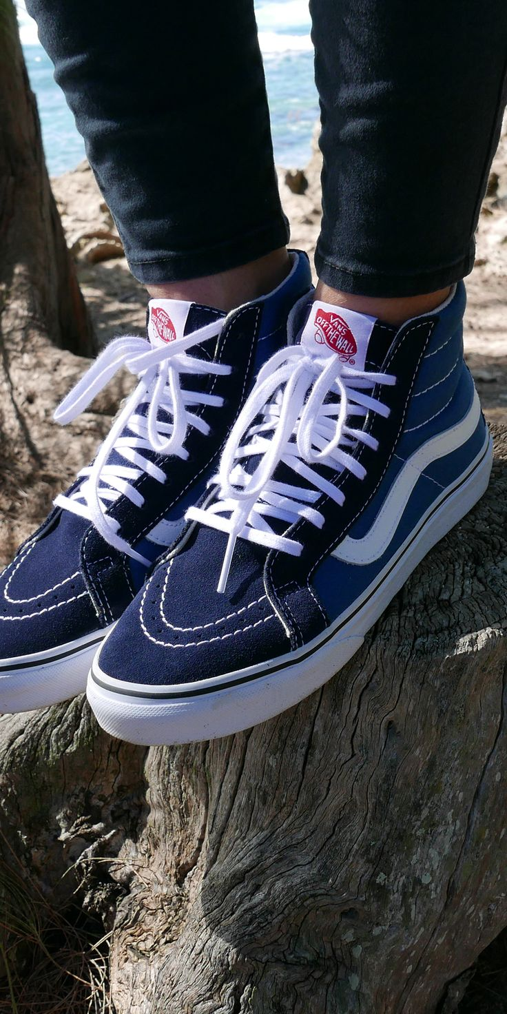 Stand out from the crowd in the Navy/White Vans Sk8-Hi. Shop new colors now.