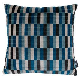Romo District Kingfisher Cushion . Designed and made in the UK to celebrate 150 years of the London Underground. This cushion features one of the London tube network's original and iconic moquette fabric designs, brought back to life in new colours for the modern home. <Heal's>