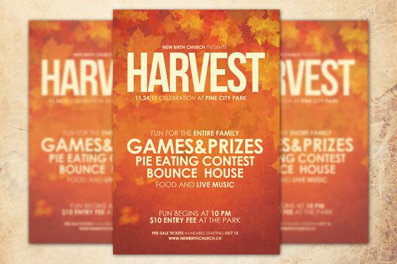 Check out Harvest Celebration Church Flyer by loswl on Creative Market