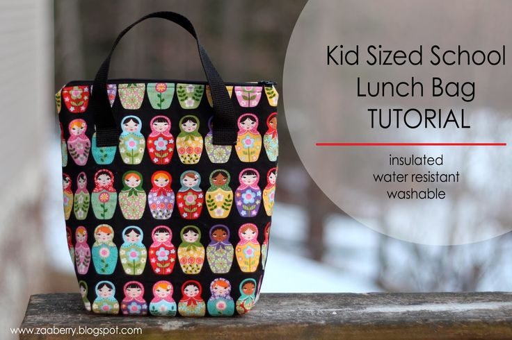 Kid Sized Lunch Bag Free Sewing Tutorial by Zaaberry + How to Sew in an Exposed Zipper by Wendi Gratz