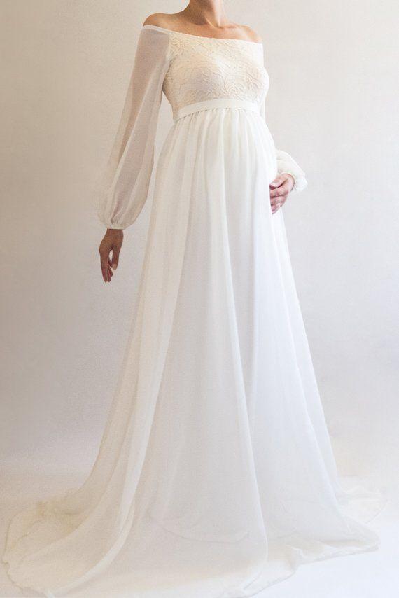 faad7eda0011d ANNABELLE Boho Wedding Dress Maternity Dress Bridesmaid | This beautiful  white maternity dress is perfect as a lace and chiffon maternity wedding  dress!