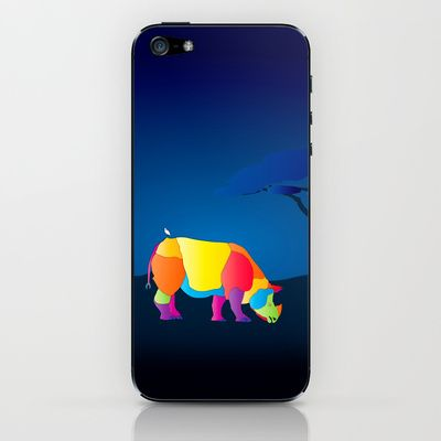 Paper Craft iPhone Skin - Colorful, fun and whimsical portrait of an Indian (Java) Rhinoceros grazing as the sun rises. A snowy egret rests comfortably on its back.