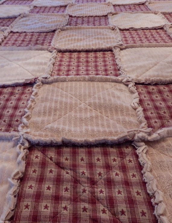 primitive rag quilts | Queen Rag Quilt Primitive Country Red Star by KristinsCountryHome