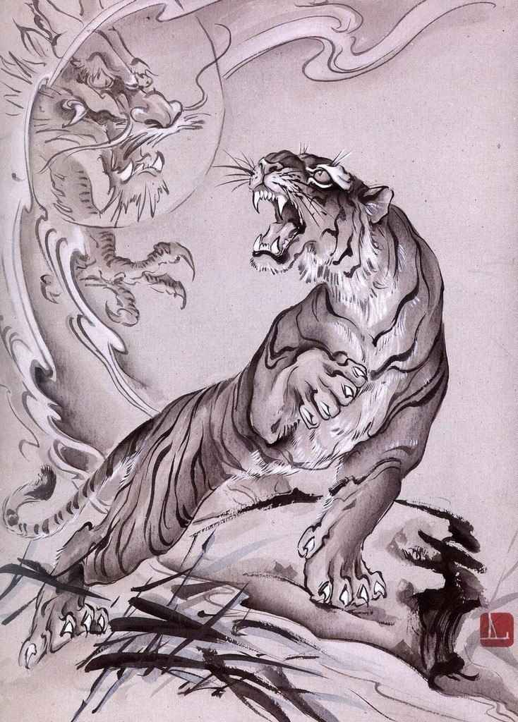 japanese tiger tattoo drawing images galleries with a bite. Black Bedroom Furniture Sets. Home Design Ideas