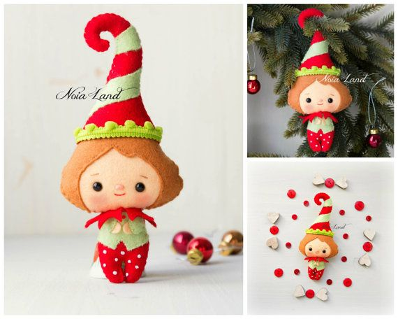 Playful elves. Cute Christmas PDF Pattern por Noialand en Etsy