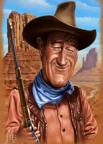 John Wayne: Cartoon Caricatures, Digital Paintings, John Wayne, Javier Martinez, Cartoon Celebrity, Funny Paper Cartoon, Funny Papercartoon, Caricatures Artsdessin, Caricatures Drawings
