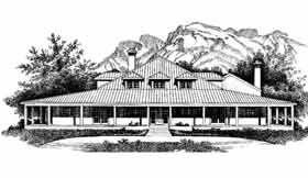 Elevation of Prairie Style   Southwest   House Plan 99278