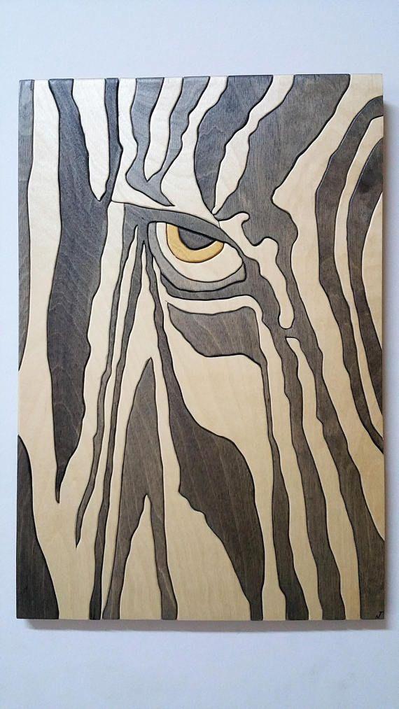Art Moderne Murale En Bois Zebre Avec Images Art Moderne