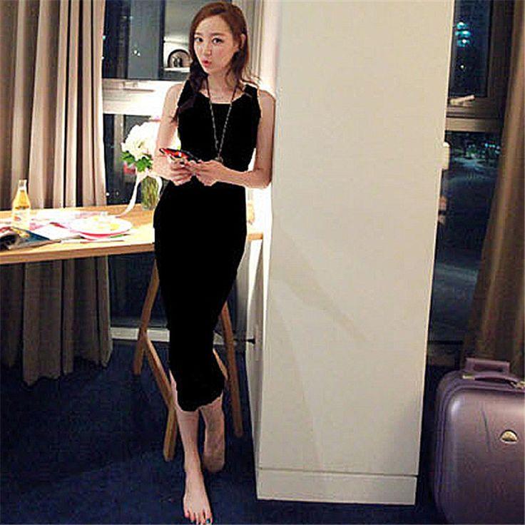 2016 Women Sexy Sleeveless Spaghetti Strap Bodycon Bag Hip Cassual Slim Long Bottoming Dress