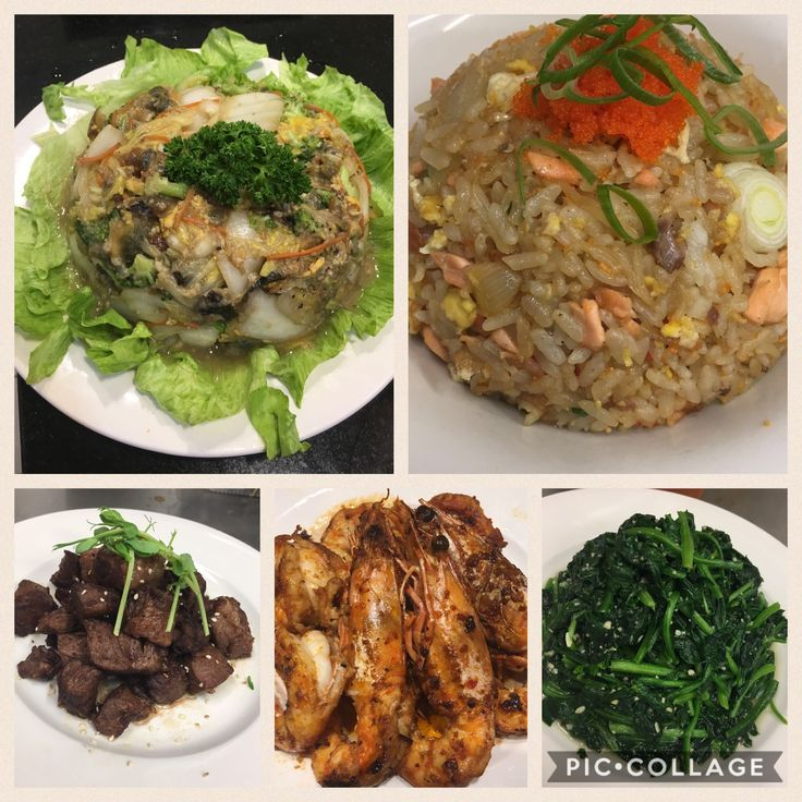 Random chef's cooking on Friday nights #tgif.  1. Treasure egg basket  2. Special salmon fried rice with tobiko  3. Stir fry wagyu beef 4. Sambal prawn 5. Stir fry spinach  #TGIF #shogunsushiperth #shogunperth #perthcity #tasteperth #foodofperth #perthfood #carilloncity