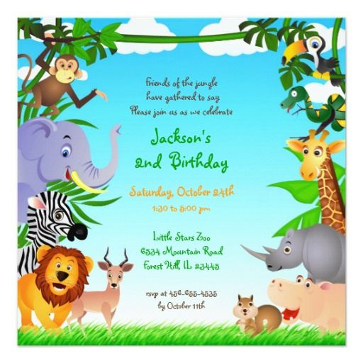 461 best jungle birthday party invitations images on pinterest birthday jungle animals flat invitation stopboris Choice Image