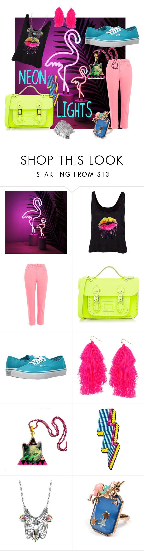 """""""Neon Lights"""" by jhmb on Polyvore featuring Topshop, The Cambridge Satchel Company, Vans, Humble Chic, Happy Embellishments, Adoriana, Irregular Choice and Miss Selfridge"""
