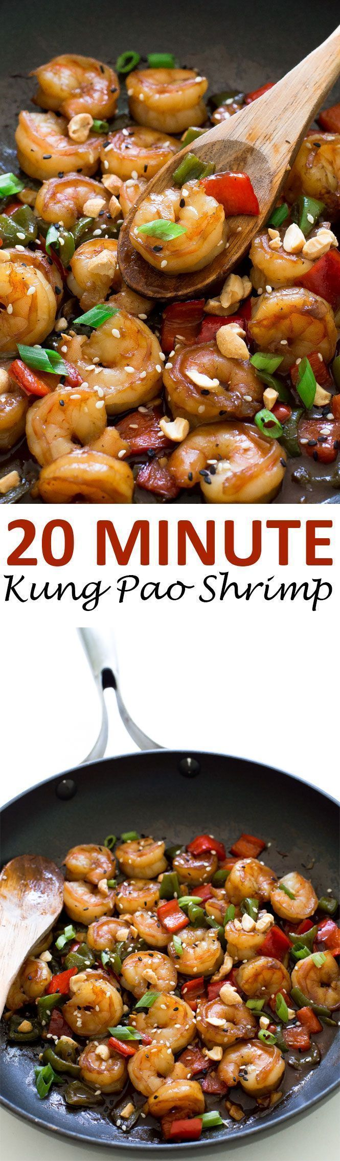 Super Easy Kung Pao Shrimp. Takes less than 20 minutes to make and is so much better and healthier than take out!   chefsavvy.com #recipe #shrimp #kung #pao #dinner