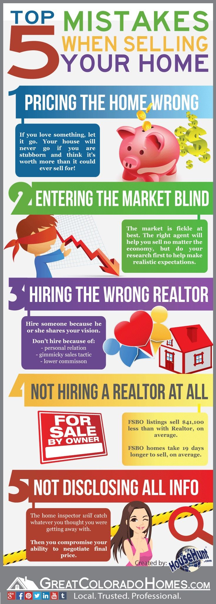 Top 5 Mistakes When Selling Your Home [Infograph] @househunt #realestate #homeselling