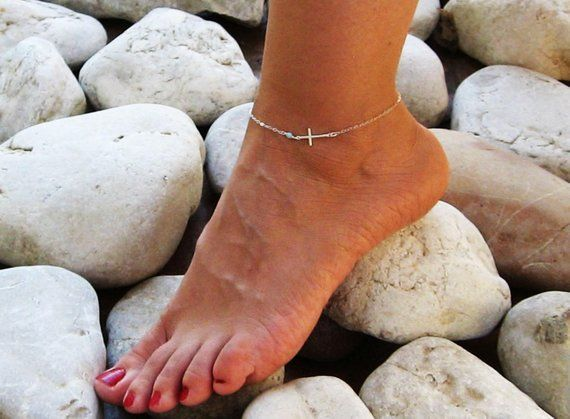 Sideways Cross Anklet Sterling Silver Ankle Bracelet