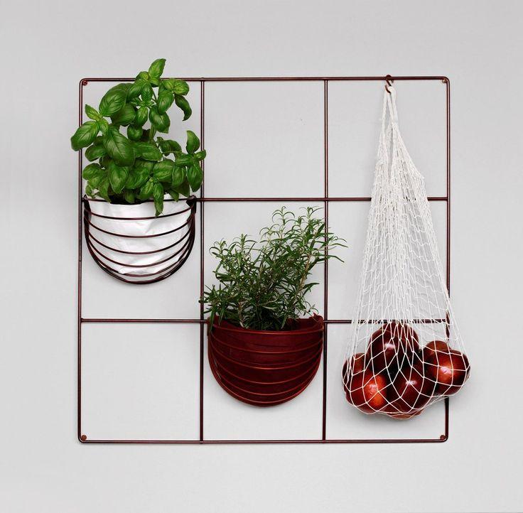 Finnish design | Wallment 9 Square Grid and Baskette wall baskets | Modern Nordic Kitchen | Herb Wall | Indoor garden