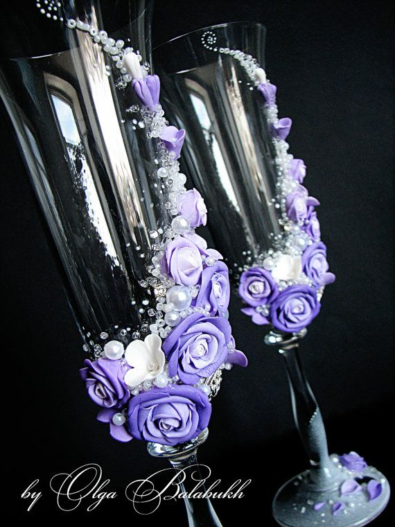 Wedding champagne glasses with beautiful purple roses by ArtsLux, $68.00