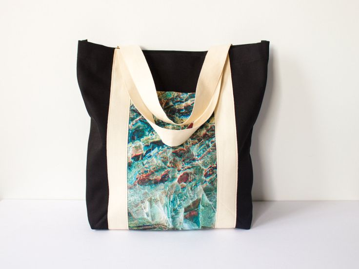 Gemstone Linen Tote Bag, Black Cotton Twill Bag, Carry All Bag, Shopping Tote Shoulder Bag, Australian Made, Marble Pattern, Clan Collective
