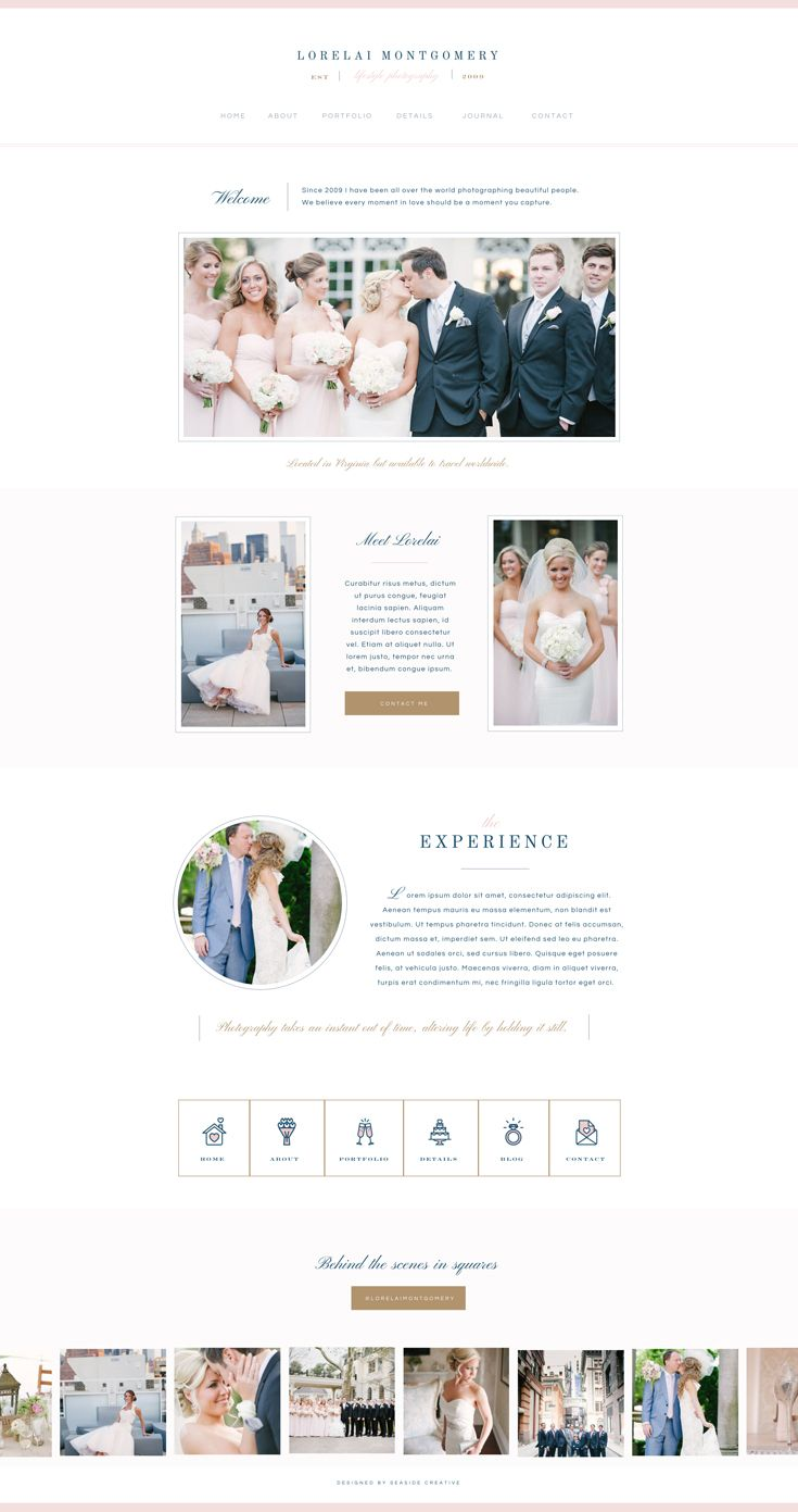 Lorelai Showit 5 Website Template Design by Seaside Creative.  Whimsical, Bold, Approachable, Professional
