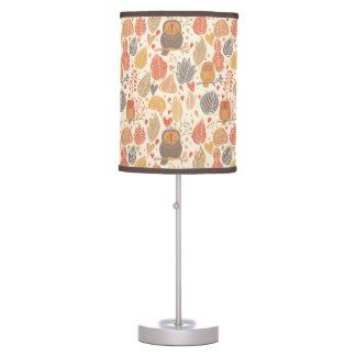 Autumn pattern. Owls in the forest Lamp