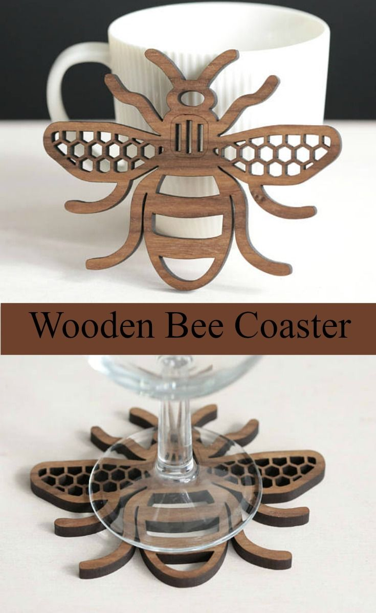 Love this! Bee Wood Coaster in walnut or oak. #ad #Etsy #bee #bees #coasters #kitchendecor #homedecor