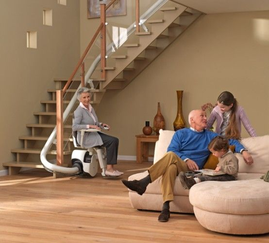 Curved Stair Lift - Sinor By ThyssenKrupp Monolift. We don't need one yet, but I would like to design stairs that could easily accommodate one in the future. Our parents might need lifts if they visit.