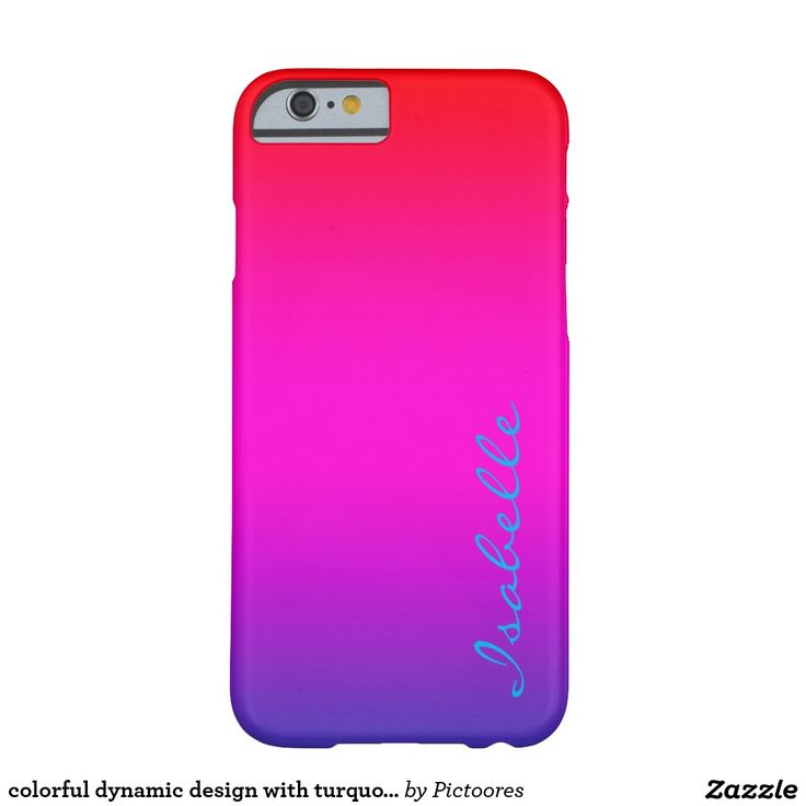 colourful dynamic design with turquoise name barely there iPhone 6 case