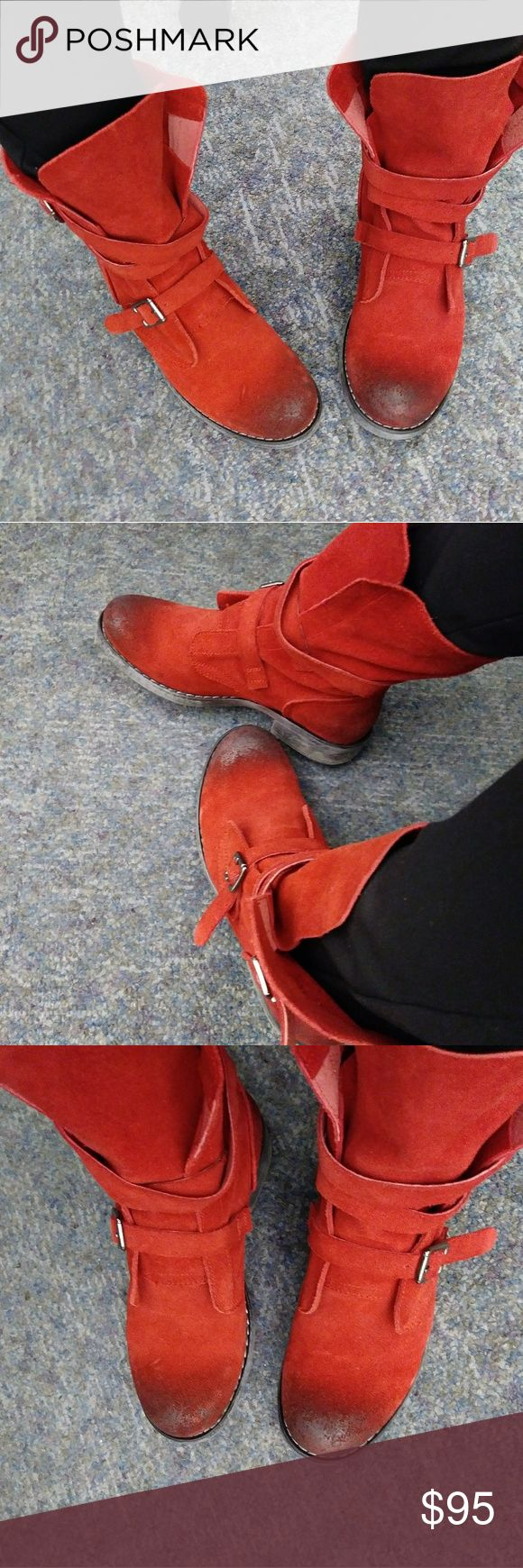 Red Suede Leather Moto Combat Boot 6 Super trendy and high quality suede with buckles. Slouchy look with oiled look distressed toe. Super cute! Very comfy! Diba Shoes Combat & Moto Boots