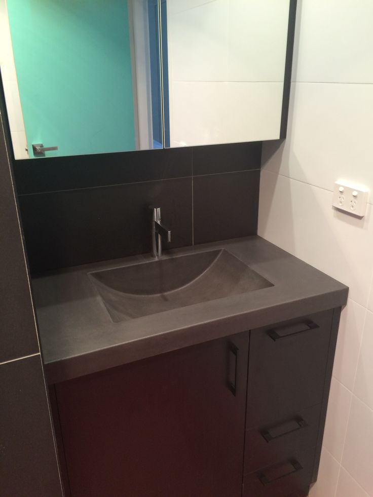 Polished concrete vanity top with integrated sink by for Bathroom vanities design ideas