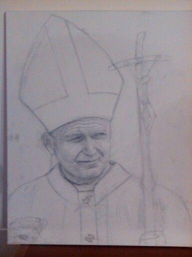 #art #Pencil #drawing - Matita su tela - Papa Giovanni  Paolo II (Giovanni De Bari)