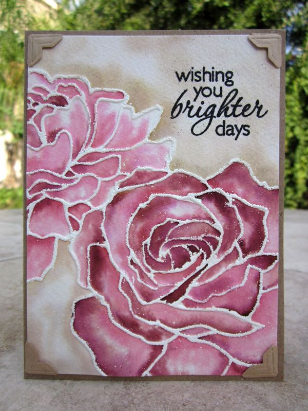 handmade card ... huge roses ... outline embossed in white .,.. color with watercolor technique using Distress Markers ... gorgeous!!!
