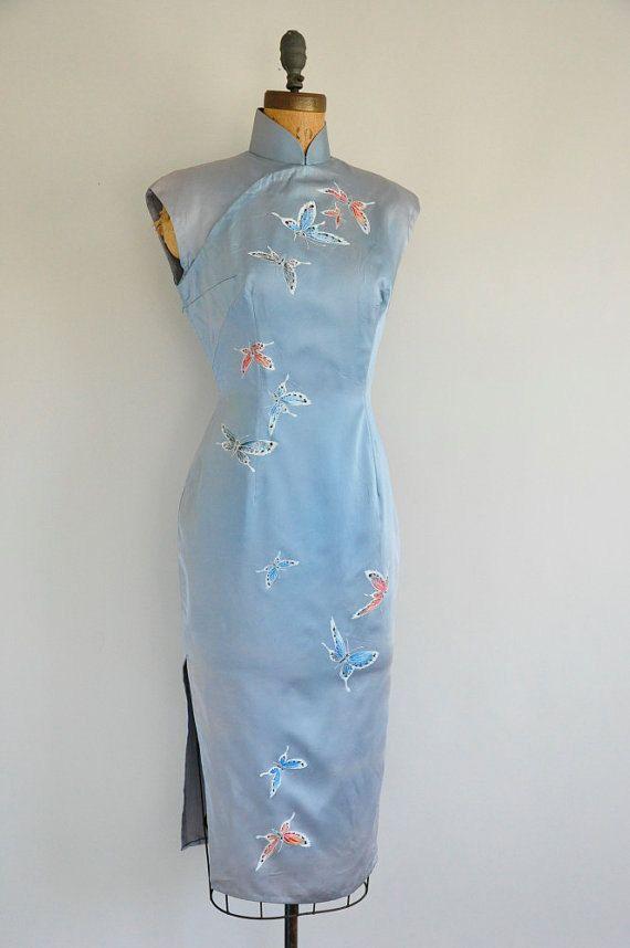 Jahrgang 1950 s Cheongsam Kleid / 50er Jahre von DesiredOldTime