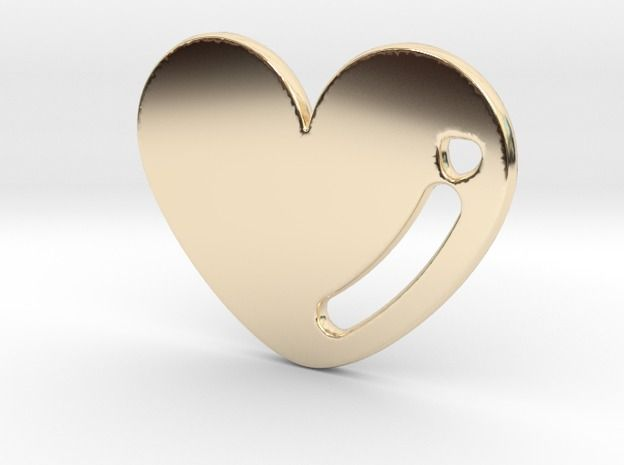 14K Gold Love Heart Pendant 3d printed