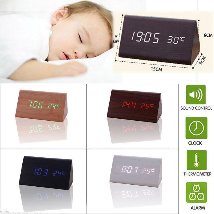 Wooden Style Digital Led Display Desk Table Clock Temperature Alarm Modern Decor
