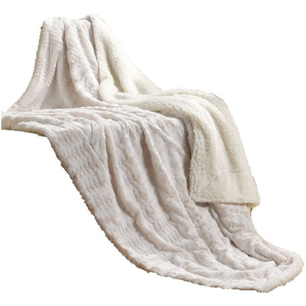 Ivory Faux Fur Sherpa Throw - Contemporary - Throws - by Tache Home... ❤ liked on Polyvore featuring home, bed & bath, bedding, blankets, ivory throw, cream throw, fake fur throw, ivory throw blanket and cream throw blanket