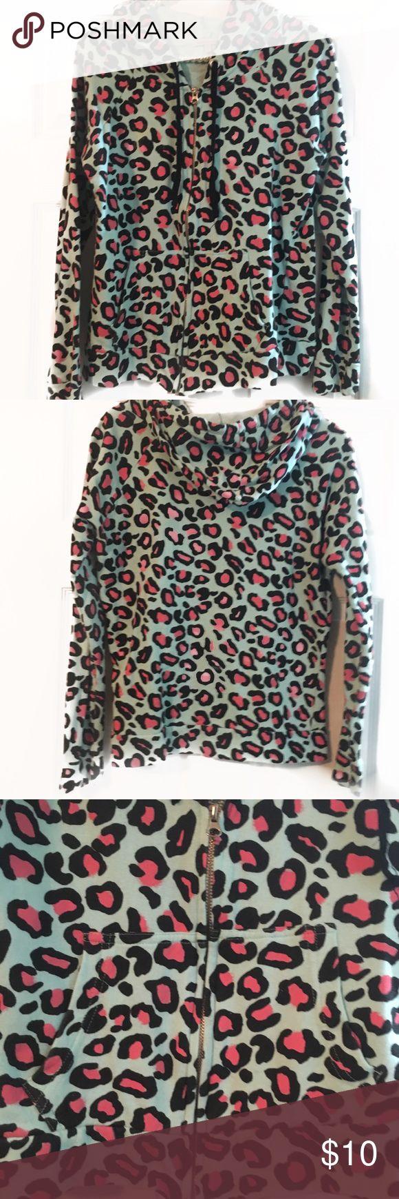 Charlotte Russe animal print hoodie Charlotte Russe super cute animal hoodie. Light blue, pink and black cheetah print Charlotte Russe Tops Sweatshirts & Hoodies