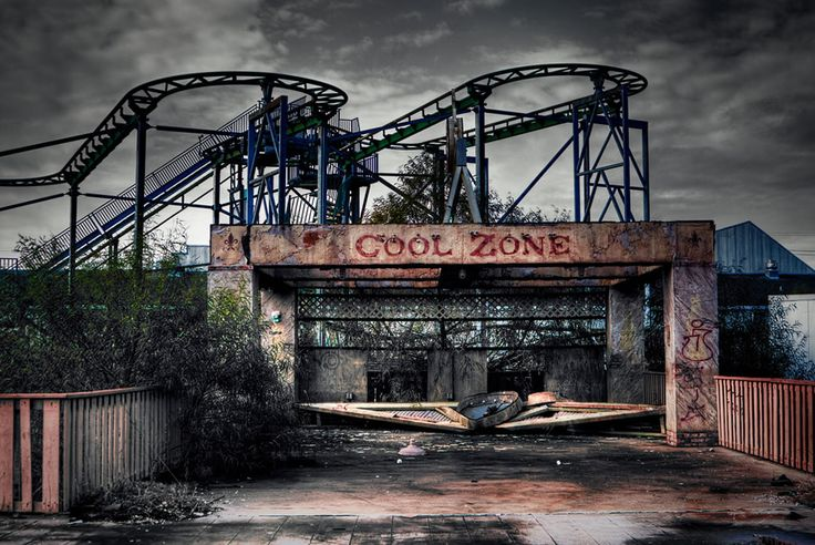 Originally called Jazzland until Six Flags took over in 2002. In 2005 hurricane Katrina unleashed all her destructive fury on the Gulf coast. Following the collapse of the levee's in the 9th ward and the over flow from lake Pontchartrain the park sat submerged in 4-7 ft of brackish, corrosive water for over a month. 80% of all building were considered destroyed and what was left was unsafe and unrecoverable. What's left of the abandoned park provides us with a surreal and haunting image.