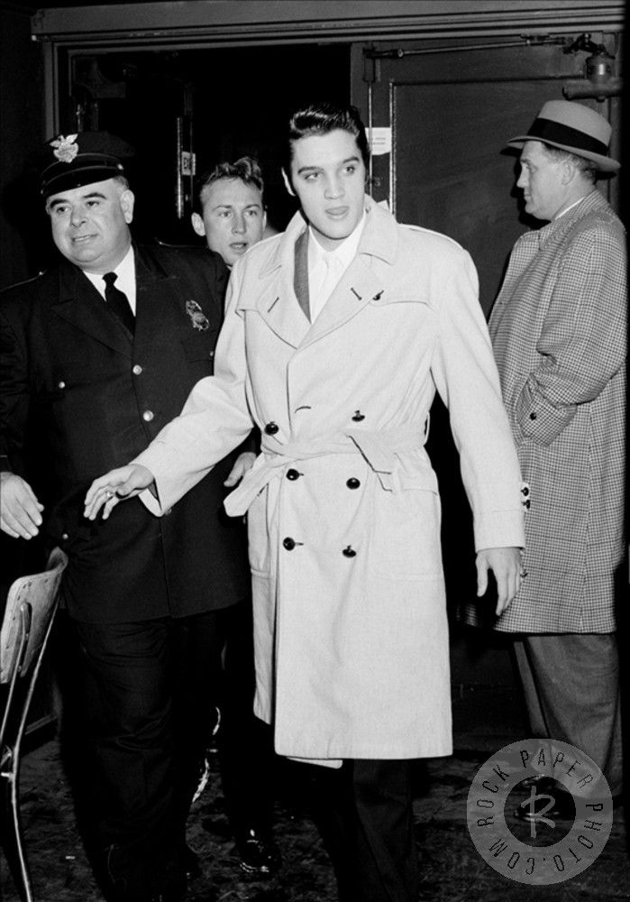 "Elvis Presley by Lew Allen | Elvis enters with Hollywood actor Nick Adams (over right shoulder); Just after ""Love Me Tender"" movie was released…height of Elvis Mania."