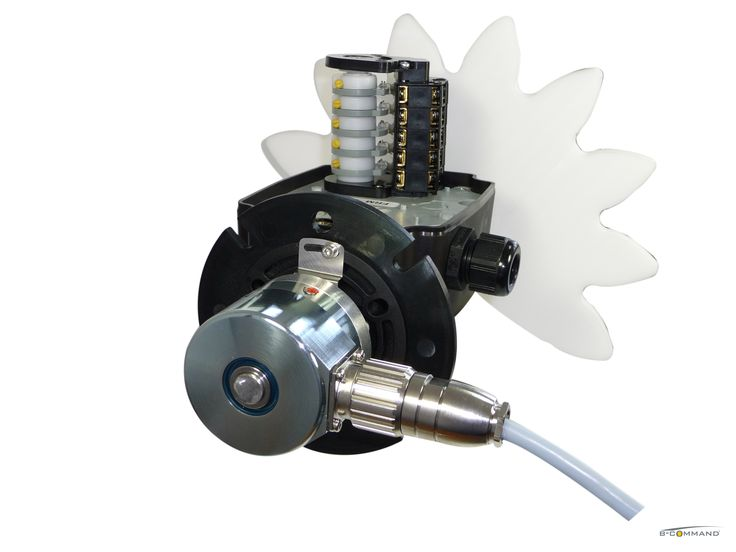 B-COMMAND Getriebeendschalter FRM, Nockenschaltwerk, Ritzel, Flansch, Absolut-Drehgeber  B-COMMAND Rotary Limit Switch FRM, 5 contacts, pinion gear, flange, absolute encoder